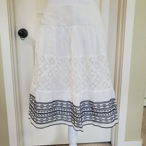 White and Black Embroidered Skirt